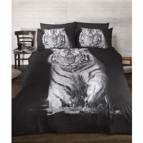 Urban Unique White Tiger Photographic Print Design Double Duvet Set